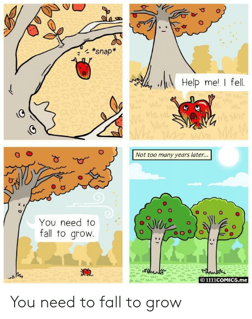 Many Years Later: *snap  Help me I fell  Not too many years later...  O o  O  You need to  fall to grovw  © 1111COMICS.me You need to fall to grow