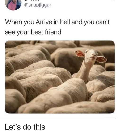 Best Friend, Best, and Dank Memes: @snapjiggar  When you Arrive in hell and you can't  see your best friend Let's do this