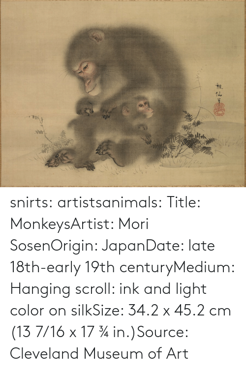 Date: snirts: artistsanimals: Title: MonkeysArtist: Mori SosenOrigin: JapanDate: late 18th-early 19th centuryMedium: Hanging scroll: ink and light color on silkSize: 34.2 x 45.2 cm (13 7/16 x 17 ¾ in.)Source: Cleveland Museum of Art
