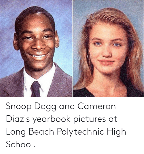 snoop dogg: Snoop Dogg and Cameron Diaz's yearbook pictures at Long Beach Polytechnic High School.