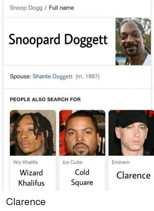 Ice Cube: Snoop Dogg / Full name  Snoopard Doggett  Spouse: Shante Doggett (m. 1997)  PEOPLE ALSO SEARCH FOR  Wiz Khalifa  Ice Cube  Eminem  Wizard  Khalifus  Cold  Square  Clarence Clarence