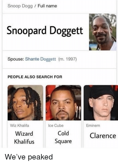 Ice Cube: Snoop Dogg / Full name  Snoopard Doggett  Spouse: Shante Doggett (m. 1997)  PEOPLE ALSO SEARCH FOR  Wiz Khalifa  Ice Cube  Eminem  Wizard  Khalifus  Cold  Square  Clarence We've peaked