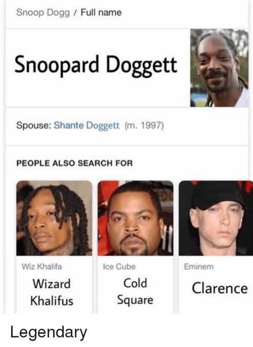 Ice Cube: Snoop Dogg Full name  Snoopard Doggett  Spouse: Shante Doggett (m. 1997)  PEOPLE ALSO SEARCH FOR  Wiz Khalifa  Ice Cube  Eminem  Wizard  Khalifus  Cold  Square  Clarence Legendary