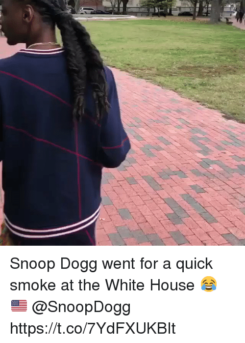 snoop dogg: Snoop Dogg went for a quick smoke at the White House 😂🇺🇸 @SnoopDogg https://t.co/7YdFXUKBIt