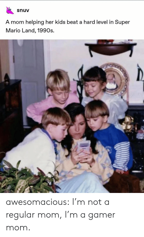 Super Mario, Tumblr, and Mario: snuv  A mom helping her kids beat a hard level in Super  Mario Land, 1990s. awesomacious:  I'm not a regular mom, I'm a gamer mom.