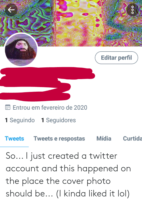 cover photo: So... I just created a twitter account and this happened on the place the cover photo should be... (I kinda liked it lol)