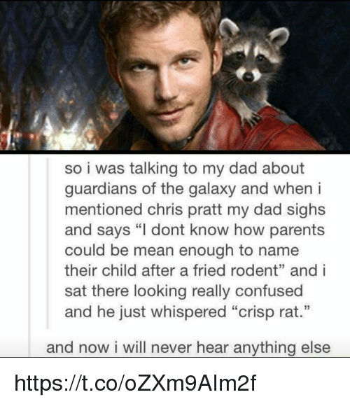 """andie: so i was talking to my dad about  guardians of the galaxy and when i  mentioned chris pratt my dad sighs  and says """"I dont know how parents  could be mean enough to name  their child after a fried rodent"""" andi  sat there looking really confused  and he just whispered """"Crisp rat.""""  and now i will never hear anything else https://t.co/oZXm9AIm2f"""
