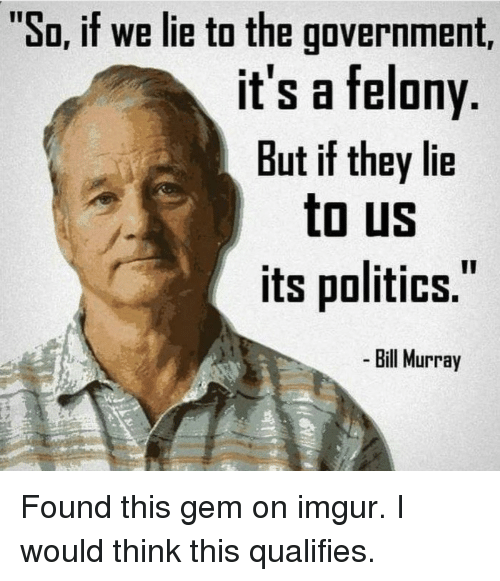 """Politics, Bill Murray, and Imgur: """"So, if we lie to the government,  it's a felony  But if they lie  to US  its politics.  Bill Murray Found this gem on imgur. I would think this qualifies."""