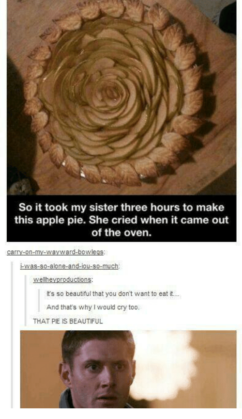 its so beautiful: So it took my sister three hours to make  this apple pie. She cried when it came out  of the oven.  It's so beautiful that you don't want to eat it...  And thats why I would cry too.  THAT PIE IS BEAUTIFUL
