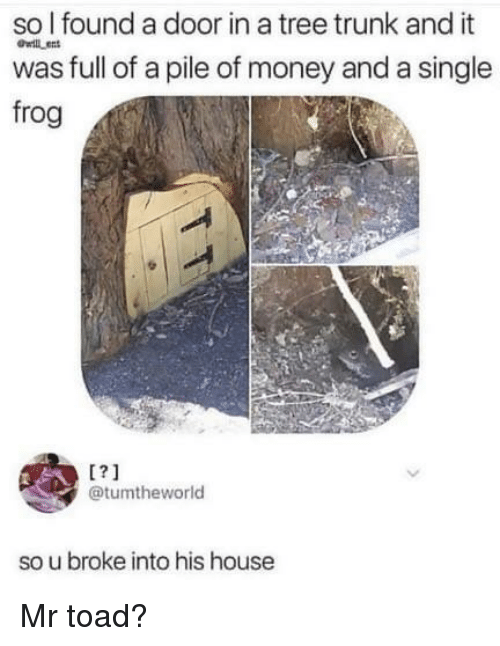 Money, House, and Tree: so l found a door in a tree trunk and it  was full of a pile of money and a single  frog  willen  1?1  @tumtheworld  so u broke into his house Mr toad?