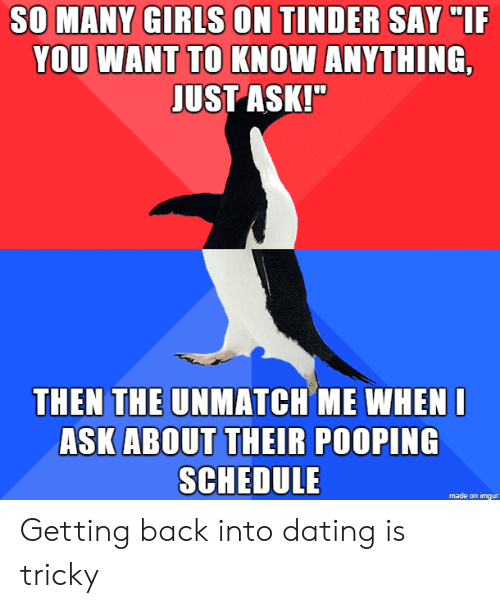 "Anything Just: SO MANY GIRLS ON TINDER SAY ""IF  YOU WANT TO KNOW ANYTHING,  JUST ASK!""  THEN THE UNMATCH ME WHENI  ASK ABOUT THEIR POOPING  SCHEDULE  made on imgur Getting back into dating is tricky"