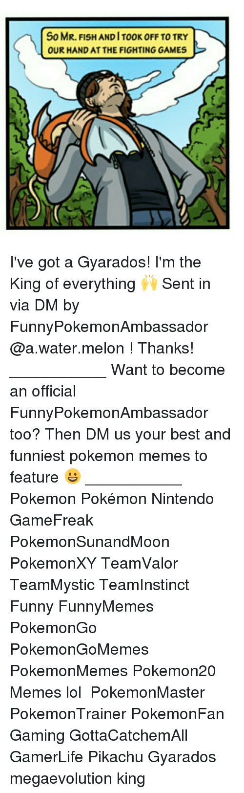 Melonism: So MR. FISH AND IT00K OFF TO TRY  OUR HAND AT THE FIGHTING GAMES I've got a Gyarados! I'm the King of everything 🙌 Sent in via DM by FunnyPokemonAmbassador @a.water.melon ! Thanks! ___________ Want to become an official FunnyPokemonAmbassador too? Then DM us your best and funniest pokemon memes to feature 😀 ___________ Pokemon Pokémon Nintendo GameFreak PokemonSunandMoon PokemonXY TeamValor TeamMystic TeamInstinct Funny FunnyMemes PokemonGo PokemonGoMemes PokemonMemes Pokemon20 Memes lol ポケットモンスター PokemonMaster PokemonTrainer PokemonFan Gaming GottaCatchemAll GamerLife Pikachu Gyarados megaevolution king
