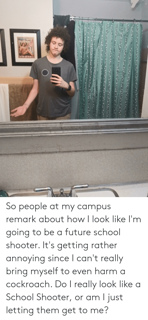 School Shooter: So people at my campus remark about how I look like I'm going to be a future school shooter. It's getting rather annoying since I can't really bring myself to even harm a cockroach. Do I really look like a School Shooter, or am I just letting them get to me?