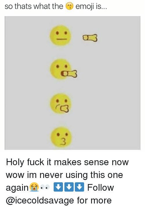 The Emojis: so thats what the  emoji is... Holy fuck it makes sense now wow im never using this one again😭👀 ⬇️⬇️⬇️ Follow @icecoldsavage for more