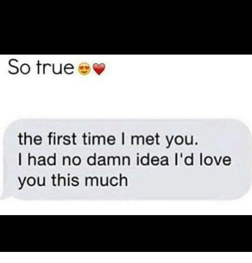 Love, Memes, and True: So true  the first time I met you.  I had no damn idea I'd love  you this much