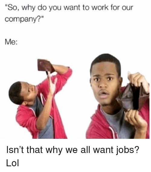 """Funny, Lol, and Work: """"So, why do you want to work for our  company?""""  Me: Isn't that why we all want jobs? Lol"""