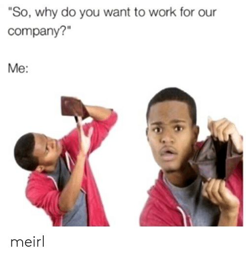 """Work, MeIRL, and Company: """"So, why do you want to work for our  company?""""  Me: meirl"""