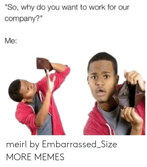 """Dank, Memes, and Target: """"So, why do you want to work for our  company?""""  Me: meirl by Embarrassed_Size MORE MEMES"""