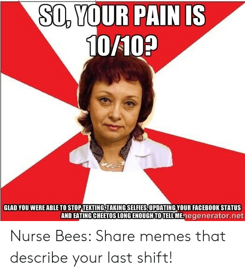 Nurse Meme: SO,YOUR PAIN IS  10/10?  GLAD YOU WERE ABLE TO STOP TEXTING,TAKING SELFIES UPDATING YOUR FACEBOOK STATUS  AND EATING CHEETOS LONG ENOUGH TO TELL MEnegenerator.net Nurse Bees: Share memes that describe your last shift!