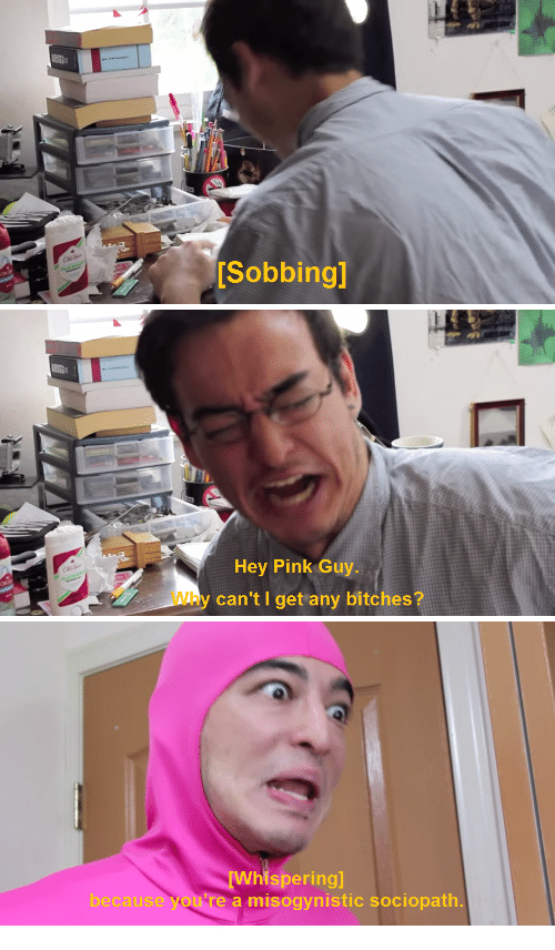 Pink Guy: [Sobbingl   Hey Pink Guy.  Why can't I get any bitches?   because you  re a misogynistic sociopath