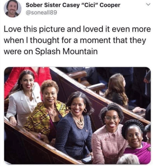 "moment: Sober Sister Casey ""Cici"" Cooper  @soneall89  Love this picture and loved it even more  when I thought for a moment that they  were on Splash Mountain"