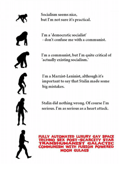 Stalinator: Socialism seems nice,  but I'm not sure it's practical.  I'm a 'democratic socialist'  don't confuse me with a communist  I'm a communist, but I'm quite critical of  actually existing socialism.  I'm a Marxist-Leninist, although it's  important to say that Stalin made some  big mistakes.  Stalin did nothing wrong. Of course I'm  serious. I'm as serious as a heart attack.  FULLY AUTOMATED LUXURY GAY SPACE  TECHNO SEX POST-SCARCTY STAR  TRANS HUMANIST GALA CTTC  COMMUNISM WITH FUSION POWERED  MOON GULAGS