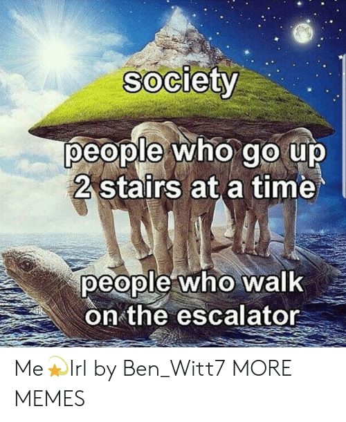 Escalator: Society  people who go up  2 stairs at a time  people who walk  on the escalator Me💫Irl by Ben_Witt7 MORE MEMES