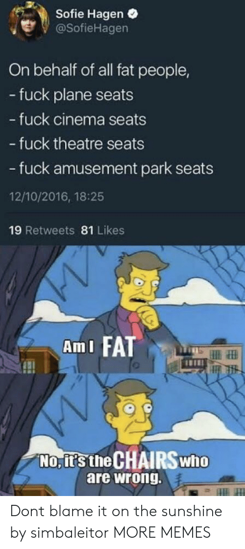 fat people: Sofie Hagen .  @SofieHagen  On behalf of all fat people,  - fuck plane seats  fuck cinema seats  - fuck theatre seats  - fuck amusement park seats  12/10/2016, 18:25  19 Retweets 81 Likes  AmI FATT  No, it's the CHAIRSwho  are wrong. Dont blame it on the sunshine by simbaleitor MORE MEMES