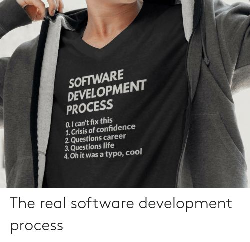 software development: SOFTWARE  DEVELOPMENT  PROCESS  0.1 can't fix this  1. Crisis of confidence  2. Questions career  3. Questions life  4. Oh it was a typo, cool The real software development process