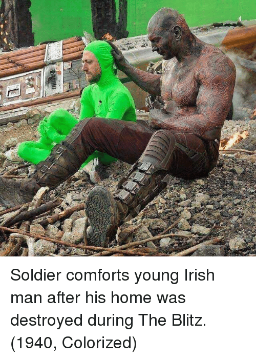 blitz: Soldier comforts young Irish man after his home was destroyed during The Blitz. (1940, Colorized)