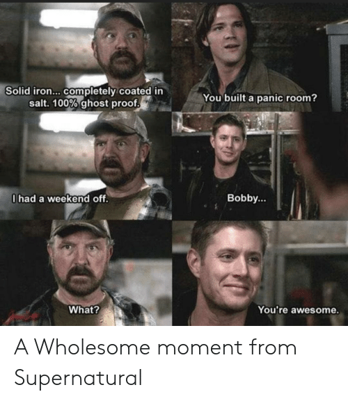 bobby: Solid iron... completely coated in  salt. 100% ghost proof  You built a panic room?  0had a weekend off.  Bobby...  What?  You're awesome. A Wholesome moment from Supernatural