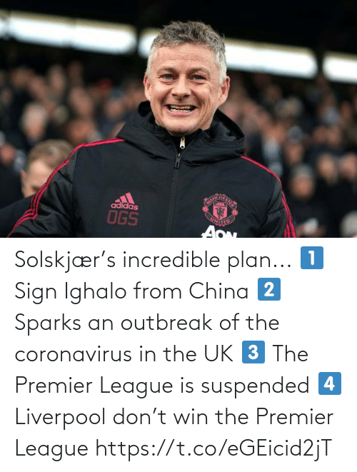 Premier League: Solskjær's incredible plan...  1⃣ Sign Ighalo from China 2⃣ Sparks an outbreak of the coronavirus in the UK 3⃣ The Premier League is suspended 4⃣ Liverpool don't win the Premier League https://t.co/eGEicid2jT