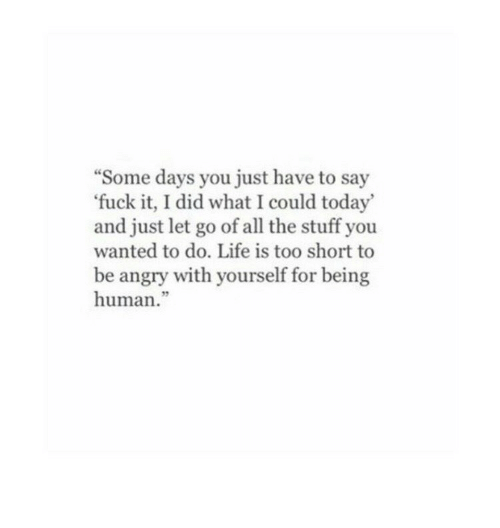 """Life Is Too Short To: """"Some days you just have to say  'fuck it, I did what I could today  and just let go of all the stuff you  wanted to do. Life is too short to  be angry with yourself for being  human."""