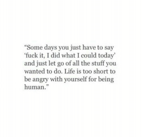 """Life Is Too Short To: Some days you just have to say  fuck it, I did what I could today'  and just let go of all the stuff you  wanted to do. Life is too short to  be angry with yourself for being  human.""""  3"""