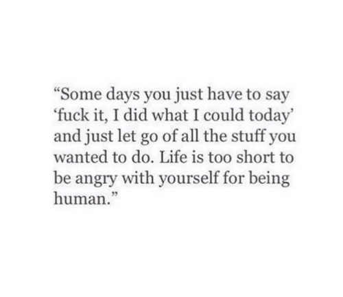 """Life Is Too Short To: """"Some days you just have to say  fuck it, I did what I could today'  and just let go of all the stuff you  wanted to do. Life is too short to  be angry with yourself for being  human."""""""