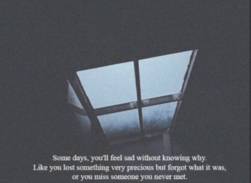 knowing: Some days, you'll feel sad without knowing why  Like you lost something very precious but forgot what it was,  or you miss someone you never met.