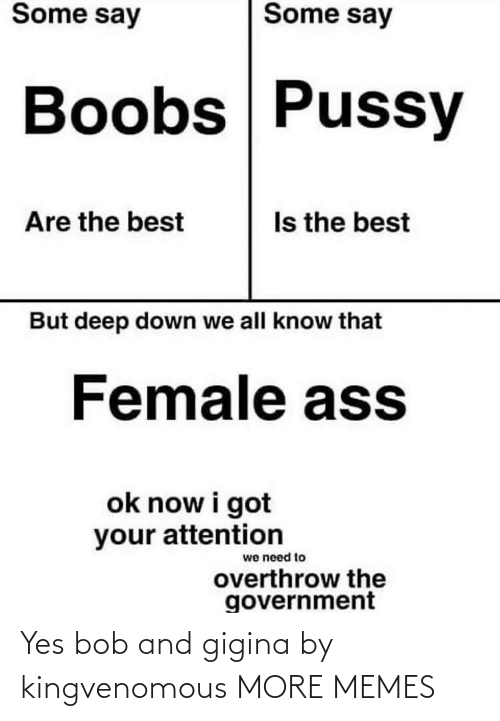 attention: Some say  Some say  Boobs Pussy  Is the best  Are the best  But deep down we all know that  Female ass  ok now i got  your attention  we need to  overthrow the  government Yes bob and gigina by kingvenomous MORE MEMES