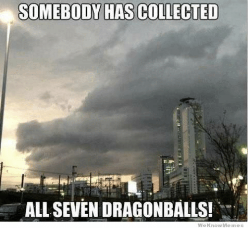 We Know Meme: SOMEBODY HAS COLLECTED  ALL SEVEN DRAGONBALLS!  We Know Memes