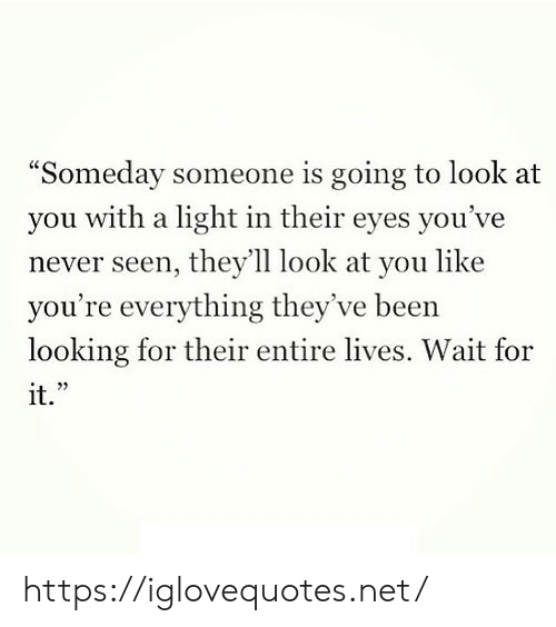 "Theyll: ""Someday someone is going to look at  with a light in their eyes you've  you  never seen, they'll look at you like  you're everything they've been  looking for their entire lives. Wait for  it."" https://iglovequotes.net/"