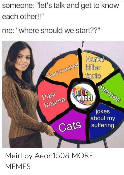 """Dank, Memes, and Target: someone: """"let's talk and get to know  each other!!""""  me: """"where should we start??""""  rti  Past  traumaWhc  jokes  about my  Ssuffering Meirl by Aeon1508 MORE MEMES"""