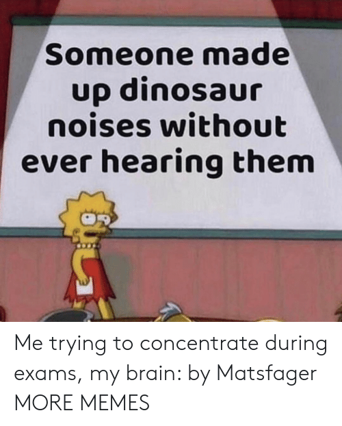concentrate: Someone made  up dinosaur  noises without  ever hearing them Me trying to concentrate during exams, my brain: by Matsfager MORE MEMES