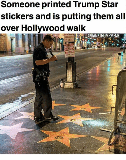 Memes, Star, and Trump: Someone printed Trump Star  stickers and is putting them all  over Hollywood walk  @DANKTRUMPMEME  NO