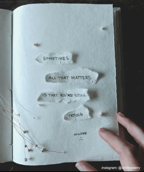Tryin: SOMETIMES  ALL THAT MATTERS  IS THAT YOUR乍57LL  TRYIN Er  WILDER  instagram: @wilderpoetry