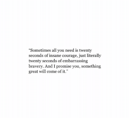 """Courage, Will, and All: """"Sometimes all you need is twenty  seconds of insane courage, just literally  twenty seconds of embarrassing  bravery. And I promise you, something  great will come of it."""""""