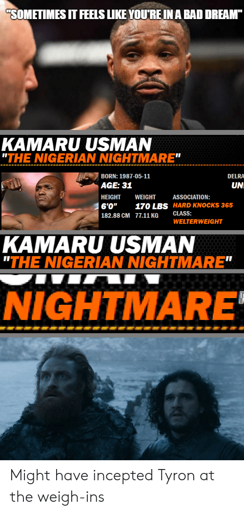 """Tyron: SOMETIMES IT FEELS LIKE YOU'REINA BAD DREAM  KAMARU USMAN  """"THE NIGERIAN NIGHTMARE""""  BORN: 1987-05-11  DELRA  UN  AGE: 31  HEIGHT WEIGHT  6'0"""" 170 LBS HARD KNOCKS 365  182.88 CM 77.11 KG CLASS:  ASSOCIATION:  WELTERWEIGHT  KAMARU USMAN  """"THE NIGERIAN NIGHTMARE  NIGHTMARE Might have incepted Tyron at the weigh-ins"""