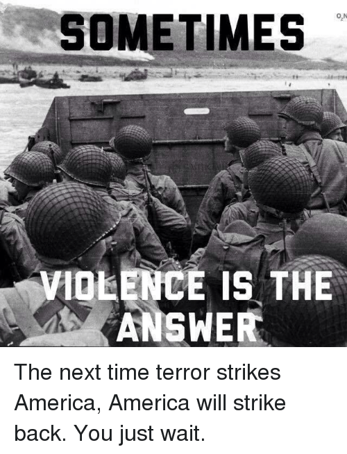strike back: SOMETIMES  ON  VIOLENCE IS THE  ANSWER The next time terror strikes America, America will strike back.  You just wait.