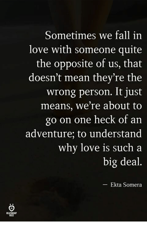 Fall, Love, and Mean: Sometimes we fall in  love with someone quite  the opposite of us, that  doesn't mean they're the  wrong person. It just  means, we're about to  go on one heck of an  adventure; to understand  why love is such a  big deal.  Ekta Somera  ELATIONH  ILES