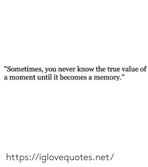 """True, True Value, and Never: """"Sometimes, you never know the true value of  a moment until it becomes a memory."""" https://iglovequotes.net/"""