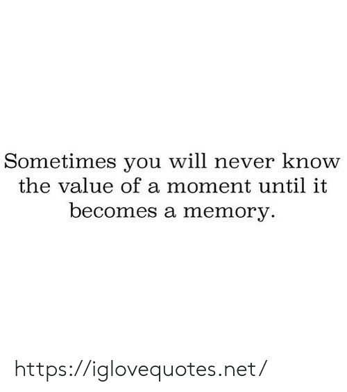 will never know: Sometimes you will never know  the value of a moment until it  becomes a memory. https://iglovequotes.net/
