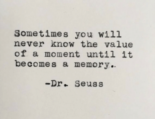 will never know: Sometimes you will  never know the value  of a moment until it  be comes a memory  -Dr.. Seuss